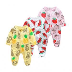 China Custom Pattern Print Newborn Cotton Romper , Organic Cotton Baby Clothes on sale