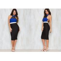 Best Sexy Halter Neck Evening Party Dresses With Black Mesh On The Neckline wholesale