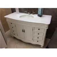 China Crystal White 22 Wide Marble Vanity Countertops With Oval Sink And Three Faucet Holes on sale
