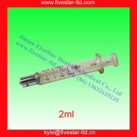 China Glass Syringe with luer lock tip 2ml on sale