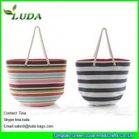 China LUDA colorful paper straw handbags striped extra large beach bags on sale