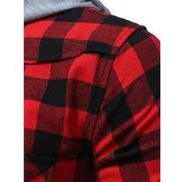 Best Latest design custom long sleeve 100%cotton flannel shirts casual men hooded plaid shirts wholesale