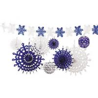 Best Snowflake Tissue Paper Fan Winter Hanging Party Home Decorations wholesale