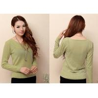 Best Autumn Womens Cashmere Sweaters Pullover with Long Sleeve , Scoop Neck Sweater with Two Cables wholesale
