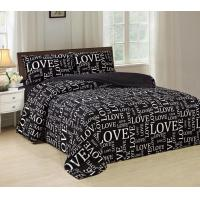 Pigment Printed 4 Piece Bedding Set Easy Care With White Words Pattern