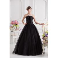 Best Simple Strapless Taffeta Tulle Quinceanera Party Dresses Black Long Ruffles wholesale