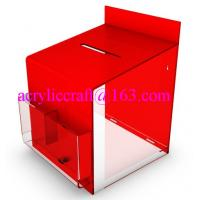 Best 2015 new design clear and red acrylic suggestion box with lock wholesale