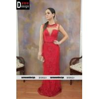 Best Fashion Sleeveless Round Collar Shiny Tulle Red Lace Floor Length Prom Dress For Sale wholesale
