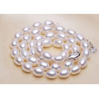 Best Fake Rice Pearl Statement Wedding Necklace , Glass White Bead Choker Necklaces wholesale