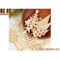 Cheap Unfinished Natural  Wood Tree Cutouts Christmas Tree Decoration for sale