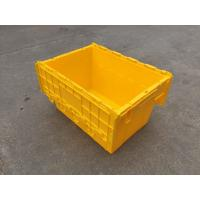 Best Yellow Plastic Storage Bins Attached Lids Stacked For Transportation wholesale