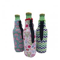 Best Sublimation Printing Neoprene Single Beer Bottle Cooler with zipper for Promotion Gift size is 19cm*6.3cm, SBR material. wholesale