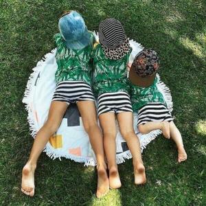 China custom children small round beach towel kids round towels kids roundies on sale