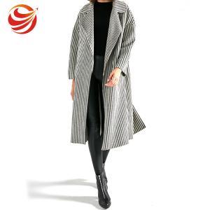 Best Long Section Stripe Ladies Grey Wool Coat Windproof No Button Closure OEM Service wholesale
