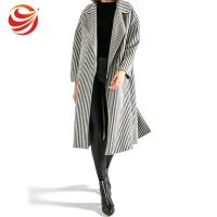 China Long Section Stripe Ladies Grey Wool Coat Windproof No Button Closure OEM Service on sale