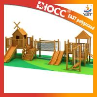 Best Funny Outdoor Wooden Play Structures , Wooden Climbing Frame With Slide wholesale