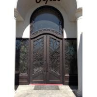 Best Arched wrought iron french double front entry doors iron exterior doors wholesale