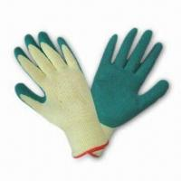 Best 21# Cotton Lined Gloves with Green Latex Coating wholesale