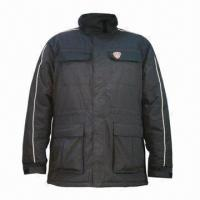 China Men's winter padding work jacket with hood on sale
