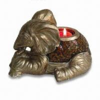 Best Polystone Elephant T-light Holder with Mosaic, Measuring 7-1/2 x 5 x 4-1/2-inch wholesale