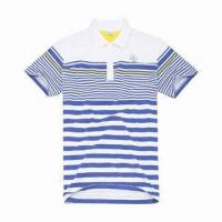 Best White and Blue Small Strip Short Sleeves Cotton Men