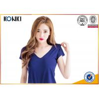 Best Deep v neck women blank T shirts ,cotton sex t-shirt  blue color wholesale