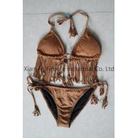 China Suede Fabric Sexy Lady's two pieces brown swimming suit with wire cup on sale