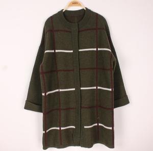 China Plus Size Womens Wool Sweaters Rib Crew Neck Long Stripe Cardigan Knitwear Supply on sale