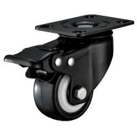 Best Small Furniture PU Caster Wheel With Swivel Plate Total Locking Black Bracket wholesale