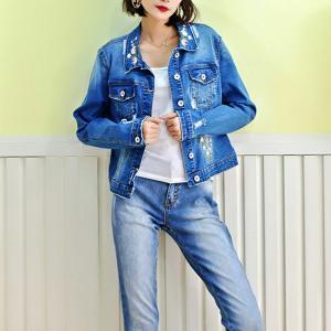 Best Fancy Embroidery Jeans Coat For Women , Stretch Ladies Blue Denim Jacket wholesale