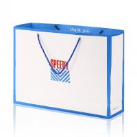 China Gloss Art Paper 250GSM Double Colors Printing Custom Design Shopping Paper Bag with Blue Color Handle on sale