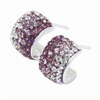 Best Silver Stud Earring, Decorated with Crystal, Handicraft Technology, Available in Different Colors wholesale