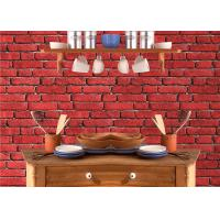 Cheap Vintage Removable 3D Brick Effect Wallpaper , Foam Faux Brick Wall Covering Washable for sale