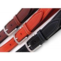 China Zinc Alloy Buckle Mens Leather Dress Belt  Contrast Color Stitching Width 3.5cm on sale