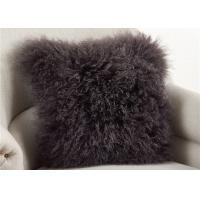 Best Dark Gray Fuzzy Throw Pillows , Soft Curly Hair Wool Decorative Bed Pillows  wholesale