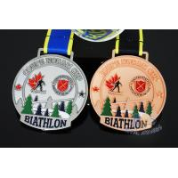 Best Canada Sports Skiing Events Custom Metal Medals, Raised Metal Shiny And Recess Mett Effect, Sublimated Ribbon wholesale