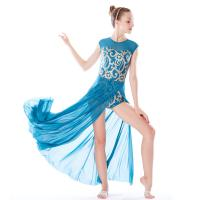 Best MiDee Best Sell Lyrical Dance Costumes Dresses Floral Sequins Leotard Cap Sleeves Leg Opening wholesale