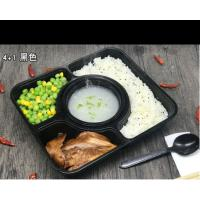 Best 4 Department Plastic Divided Food Trays , Disposable Meal Tray With Lid wholesale