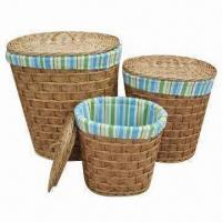 China Oval Willow Laundry Baskets with Lining and Lids, Large Storage and Bright Color on sale