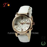 China Very beautiful leather gold watch for women dubai wholesale market on sale