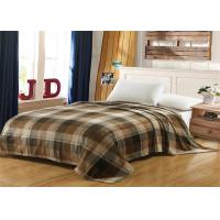 Best Brown Checkered Fleece And Flannel Blanket , MOHAP Lightweight Flannel Blanket wholesale