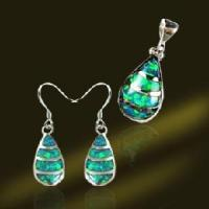 Best Fashion Opal Drop Pendant and Earring Silver Jewelry Set (PSK5299) wholesale