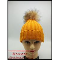 Best New Product Colorful Knit Hats Wholesale Fancy Raccoon Fur Ball Women Floppy Hat wholesale