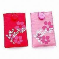 China Novelty Mobile Phone Pouches for Apple's iPhone, Made of Cotton, Various Patterns are Available on sale