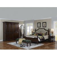 Best Sandalwood Bedroom set Classic style BT-2902 High fabric Upholstered headboard Wooden king size bed with Cloth Wardrobe wholesale