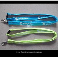 China Cheap Custom 15*900mm green polyester lanyard Silkscreen printing logo on sale