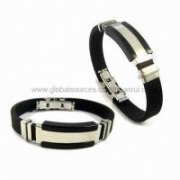 Best Stainless Steel Silicone Sports Bracelets, Suitable for Promotion, Various Colors/Logos Available wholesale