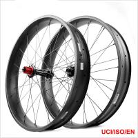 Cheap Superlight Wide Bicycle Wheels , LIGHTCARBON 90mm 26er Snow Bike Wheels for sale