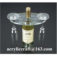 Best Personalized Engraved Transparent Oval Acrylic Two Wine Glass Holder wholesale