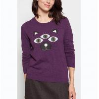 Best Applique Embroidery Purple Knit Pullover Sweater Cute 12gg Gauge For Winter wholesale